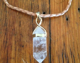 Short Leather Necklace with Clear Crystal Pendant