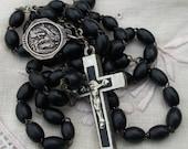 Vintage French Rosary Beads Ebony wood devotional bead Chrome Cross