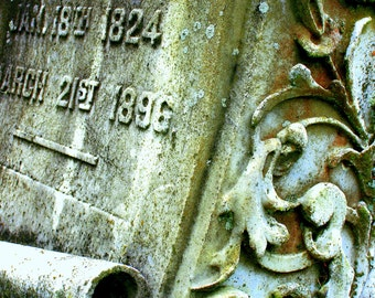 Cemetery Headstone Tombstone Photographic Art Print - 5x7 Photo matted or unmatted