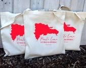 10+ Punta Cana Dominican Republic Custom Canvas Wedding Tote Bags - Eco-Friendly Natural Cotton Canvas