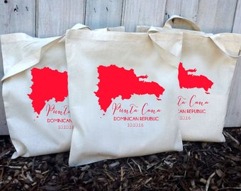 20+ Punta Cana Dominican Republic Custom Destination Wedding Welcome Canvas Wedding Tote Bags - Eco-Friendly Natural Cotton Canvas