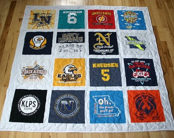 16 T-Shirt Memory Quilt With Sashing *** FREE SHIPPING *** Superior Work *** Quick Turn Around