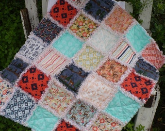 Baby Girl Rag Crib Quilt - Modern Tribal Deer Forest Woodland Spring by Riley Blake in Coral Peach Aqua Navy Ready to Ship