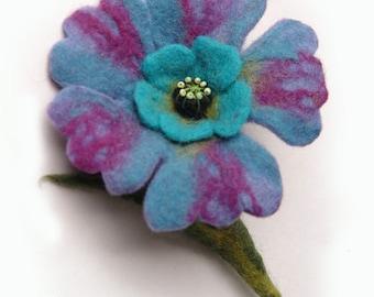 Blue violet turquoise flower brooch hand felted corsage felt flower