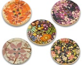 50 pcs Assortment of Wood Buttons (5 Designs Colors)- 30mm (3cm) - 1.2 inch - 4 holes