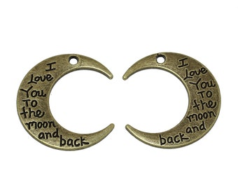 "1pc. Antique Bronze Moon ""I love you to the moon and back"" Charms Pendants - 29x27mm"