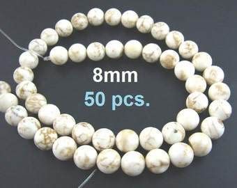 50 Beads - 8mm White Turquoise Imitation Dyed Round Beads - 15 inch strand