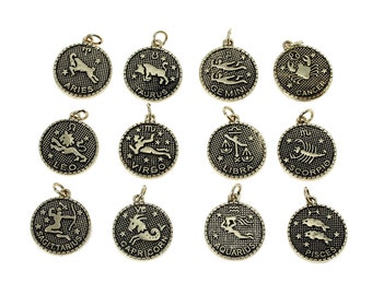 12pcs. Gold Tone LARGE Zodiac Constellation Charm Pendants- 27mm x 20mm - Wax Design