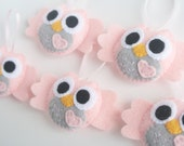 5 pink and gray Felt Owl Ornaments Baby Shower Party Favors
