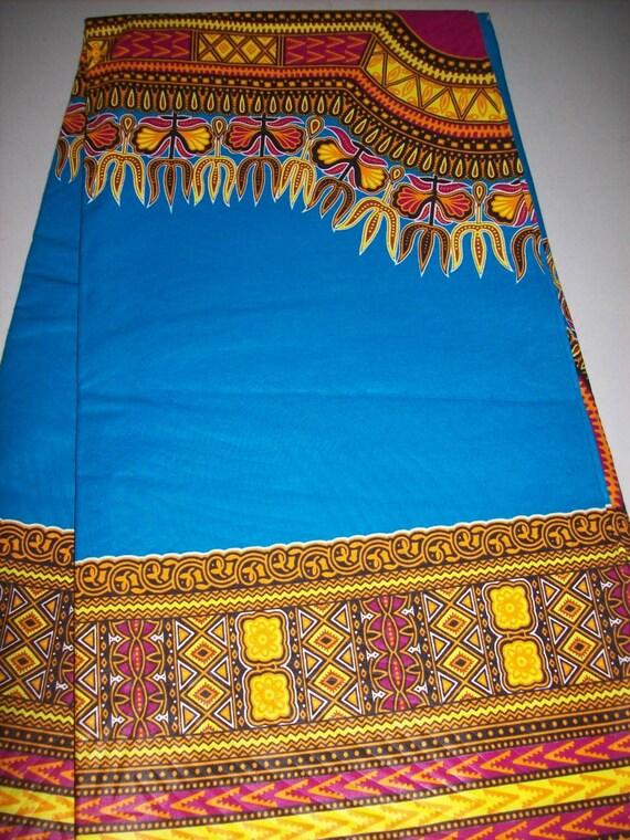 2 Yards Turquoise Blue Color Dashiki Fabric Per Panel Dashiki