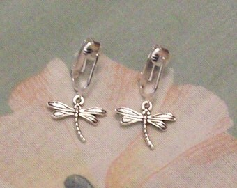 Tibet Silver or Gold Dragonfly Clip on Earrings or Pierced