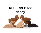 RESERVED for Nancy: Dodo Pair, Loon Pair, Toad Miniature Wood Animals