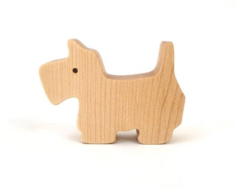 Miniature Wooden Dog Toy Scottish Terrier Westie Waldorf Wood Toys Hand Cut Scroll Saw