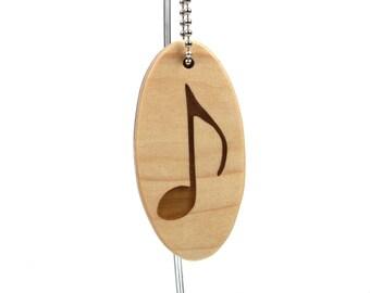 Musical Note Key Chain Wood Scroll Saw Music Key Ring Musician Key Fob Band Student Accessory Choir Key Chain Walnut