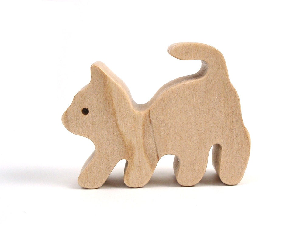 wood cat figurine miniature wooden toy cat by