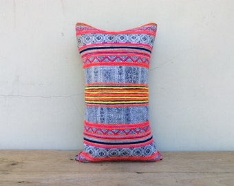 "Vintage Cotton Tribal Hand Print Patch Work Pillow Case 12"" x 20"" Pieces Of Retro Tribal Costume"
