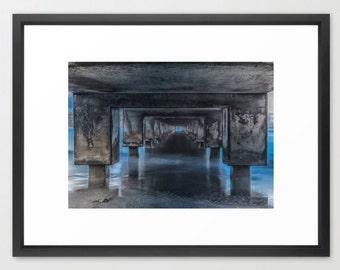 Architecture Art, Pier, Under the Pier, Blue, Gray, Black, Fine Art Photography, fPOE, Mountains, (6 sizes)
