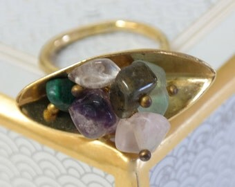 Amethyst Ring, Gift For Women, Gold Cocktail Ring with Colorful Gemstone Cluster, Statement Ring, Gold Gemstone Ring, Amethyst Jewelry