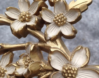 Vintage Syroco Dodwood Tree Branch Gold Wall Plaque