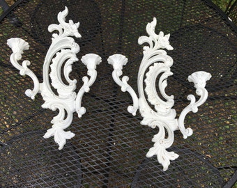 Vintage 2 White Chippy Ornate Double Candle Sconces by Homco Syroco French Apartment Decor