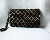 Black and Gold Diaper Clutch with Polka Dot Changing Pad