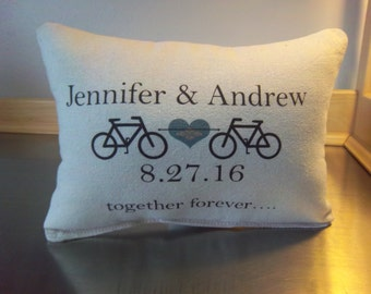 Personalized name date pillow cotton throw pillow 2nd anniversary gift wife gift bicycle pillow custom date pillow date cushion gifts
