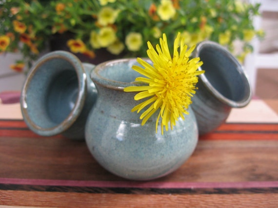 Miniature Flower Pot Wee Green Mother Pot for Little Flowers Handmade Pottery EACH ONE UNIQUE