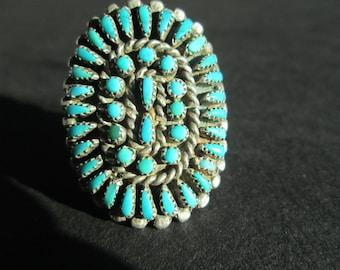 Vintage petit point turquoise ring- size 7.5