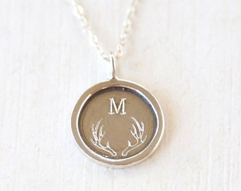 Custom for Cliodhna// Personalized Initial Deer Antler Monogram Engraved Layering Necklace // Sterling Silver// Bridesmaid Gift Necklaces