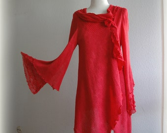 Red LINEN Cardigan Asymmetrical Knitted linen Natural Eco Friendly Clothing Unique Fashion Natural S-M Size