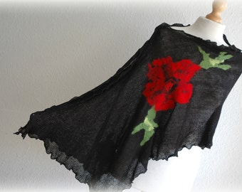 Black  Poncho LINEN Knitted With Felt Flower Application Gifts Unique Art Eco Friendly Natural Organic