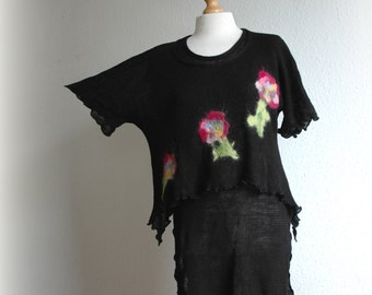 Black Universal LINEN Tunic Two-Piece,Women Clothing,  Linen Knitted , Flower Feltted Appliques, Natural Clothing, fiber art, Eco friendly