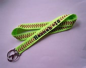 Softball Lanyard PERSONALIZED With NAME and Choice of SPORTS Ribbon Design Perfect for Coach, Mom, Athlete, Sports Fans