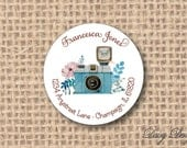 Round Return Address Labels with Camera in Watercolor Style - 96 self-sticking labels
