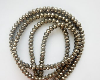 6x4mm  Pyrite faceted rondelle beads   , full strand  (16 inches)