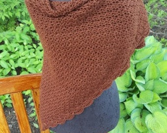 Hand crocheted chocolate brown shawl with scallop edging - READY TO SHIP