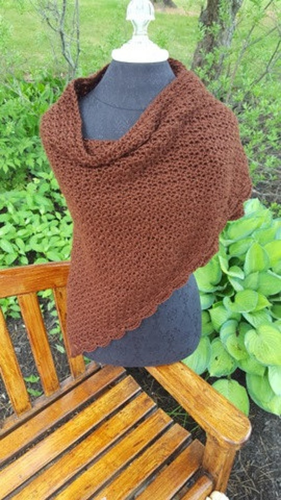 Hand crocheted chocolate brown shawl with scallop edging