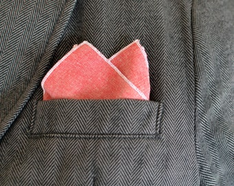 Men's Pocket Square in Deep Red Oxford - handkerchief wedding groomsmen suit cotton pink washable