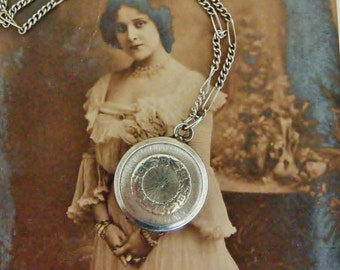 Vintage French 800 silver fob locket and chain