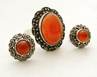Art deco sterling silver marcasite and carnelian demi parure, ring and earrings.
