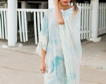 Summer discount, cotton caftan, maxi loose dress, caftan dress, oversize dress, tie dye summer gown, unique pice loose dress.