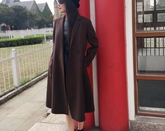 Classic Style/ 1940's look Double- Faced  Cashmere and Wool Long Jacket/   Elegant Asymmetrical Winter Coat /15 Colors / RAMIES