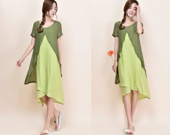 Canna Lovely Silk Linen Blend Three Layered Dress/ More Color Schemes/ RAMIES