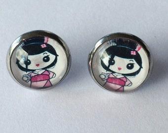 Geisha Earrings -glass, stud, retro, surgical stainless steel, kawaii