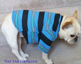 French Bulldog Frenchie Repurposed Blue and Black Striped Pocket T Shirt