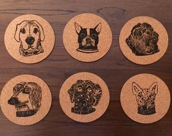 Cork Dog Coaster Set