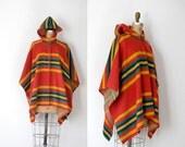 1970s Wool Poncho / 70s Striped Blanket Cape