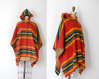 1970s Wool Poncho / 70s Striped Blanket Cape