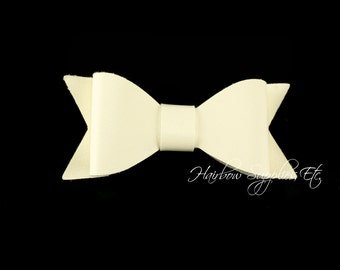 Ivory Faux Leather Bows 2-1/2 inches- Ivory Leather Bow, Ivory Leather Hair, Ivory Faux Leather, Ivory Leather Bow Headband, Ivory Hair bow