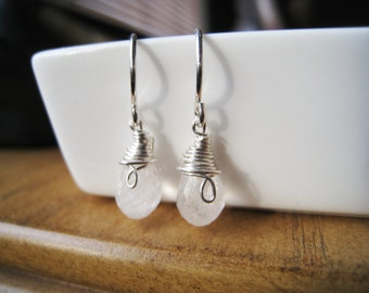Rainbow Moonstone Sterling Silver Wire Wrapped Earrings - KENDALL